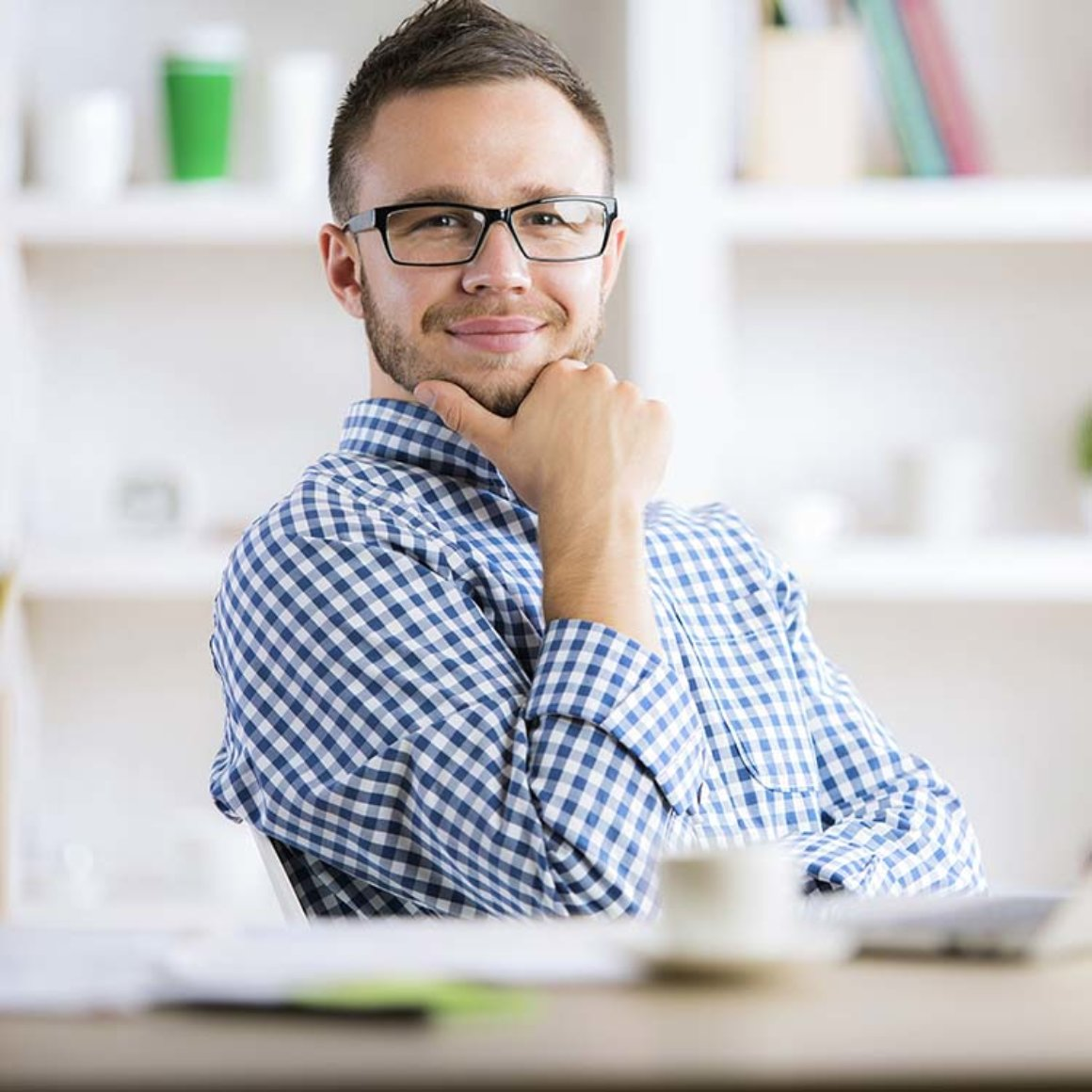 Thoughtful man at workplace